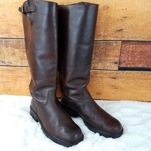 Eddie Bauer brown knee high leather boots size 9